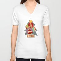 blankets V-neck T-shirts featuring christmas tree MINIMALIST by Chicca Besso