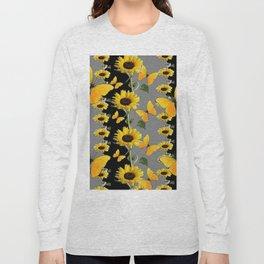 YELLOW BUTTERFLIES & SUNFLOWERS ART PANELS Long Sleeve T-shirt