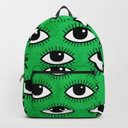 Eyes pattern on green background Backpack