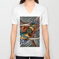 gemini V-neck T-shirts featuring Gemini by Thom Whalen