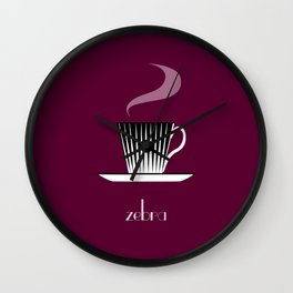 Zebra. Burgundy Wall Clock