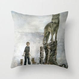 Boy With A Wolf  Throw Pillow
