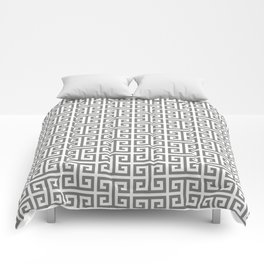 Gray and White Greek Key Pattern Comforters