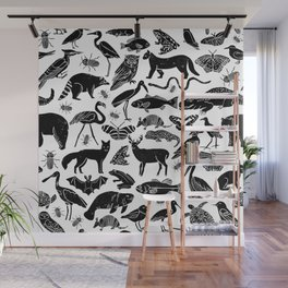 Linocut animals nature inspired printmaking black and white pattern nursery kids decor Wall Mural