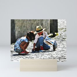 Children Playing Watercolor Mini Art Print