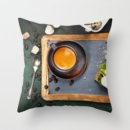 Coffee and sandwich Throw Pillow