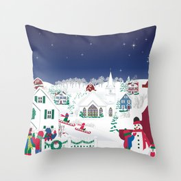 Christmas carolers in the country Throw Pillow