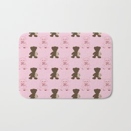 The Adventures of Bear and Baby Bear-Pink Argyle Bath Mat