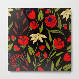 Floral embroidery Metal Print