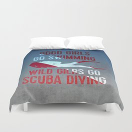 Wild girls go scuba diving Duvet Cover