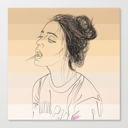 Simple Skintones Drawing of Woman Sucking Lollipop Canvas Print