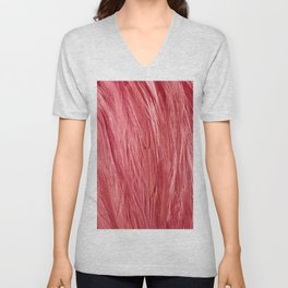 Pink Feather Texture Unisex V-Neck