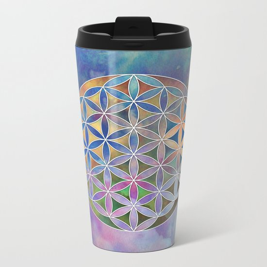 The Flower of Life in the Sky Metal Travel Mug