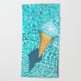 blue ice cream cone float all up in my pool yo Beach Towel