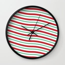 Red White and Green Christmas Candy Cane Pattern Wall Clock