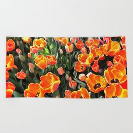 Red Tulips of Istanbul Beach Towel