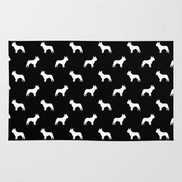 French Bulldog silhouette black and white minimal dog pattern dog breeds Rug