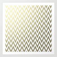 gold foil Art Prints featuring Gold Foil Chevron by Zen and Chic