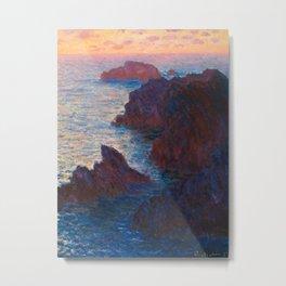 Claude Monet Impressionist Landscape Oil Painting Sunset At Sea Cliffs Ocean Cliff Landscape Metal Print