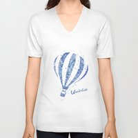 hot air balloon V-neck T-shirts featuring Hot Air Balloon by Carma Zoe