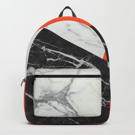 Black and White Marble with Pantone Flame Color Backpack