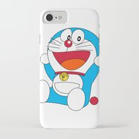 doraemon iPhone & iPod Cases featuring Happy DORAEMON #1 by Timeless-Id