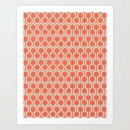 Honey Comb Pattern Coral Art Print