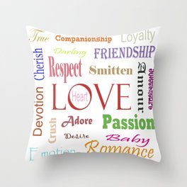 Love Synonyms Throw Pillow