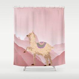 Llama Land Sunset Shower Curtain