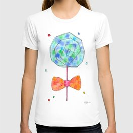Color Your Life candy illustration sweets pattern food sky blue orange kitchen watercolor painting T-shirt