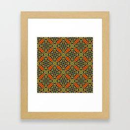 Beautifu Blue and Orange Geometric Beadwork Print Framed Art Print