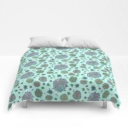 Aqua Bulbous Microbes  Comforters