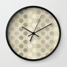 """Nude Burlap Texture and Polka Dots"" Wall Clock"