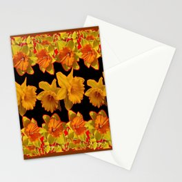 GOLDEN DAFFODILS GARDEN  COFFEE BROWN-BLACK ART Stationery Cards