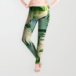 Green Tropics Leaves on Linen Leggings