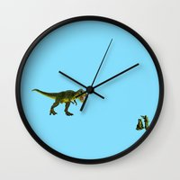 trex Wall Clocks featuring Dinosaurs vs Toy Soldiers by Andrea Vietti