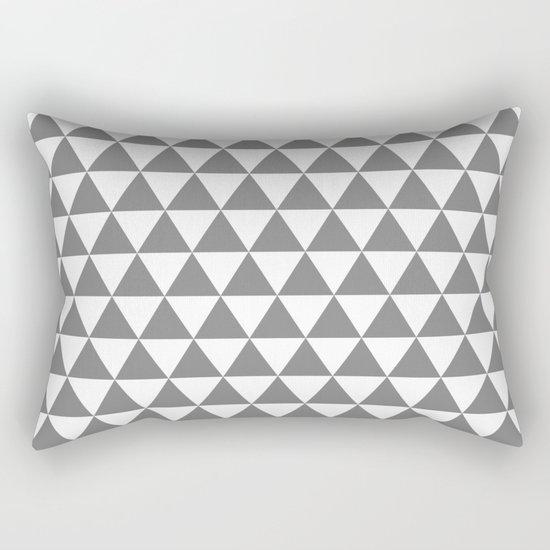 Triangles (Gray/White) Rectangular Pillow