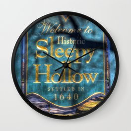 Sleepy Hollow Village Sign Wall Clock