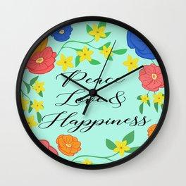 Peace Love & Happiness Wall Clock