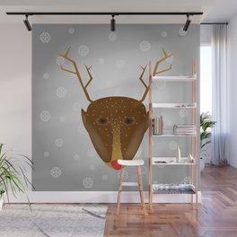 Cute Red-Nosed Reindeer - Silver Wall Mural