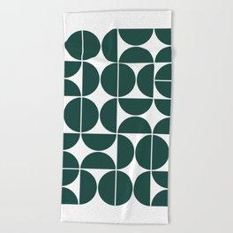 Mid Century Modern Geometric 04 Dark Green Beach Towel
