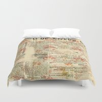 newspaper Duvet Covers featuring Vintage newspaper grunge by MJ'designs - Marosée Créations