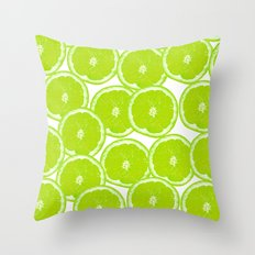 Summer Citrus Lime Slices Throw Pillow