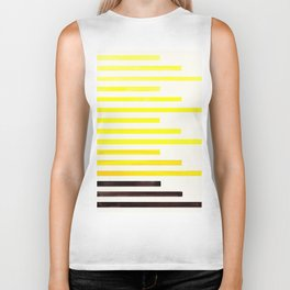 Yellow Minimalist Abstract Mid Century Modern Staggered Thin Stripes Watercolor Painting Biker Tank