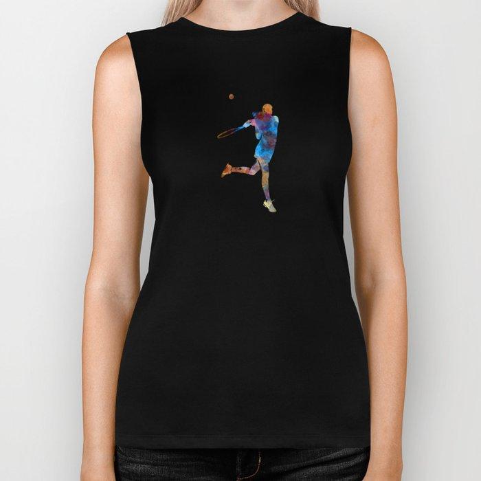 Woman tennis player 03 in watercolor Biker Tank