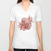 cherry blossoms V-neck T-shirts featuring Cherry Blossoms by bitterkiwi