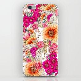 Pink orange spring vintage floral watercolor illustration pattern iPhone Skin