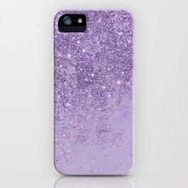 Modern elegant lavender lilac glitter marble iPhone Case
