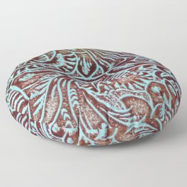 Light Blue & Brown Tooled Leather Floor Pillow