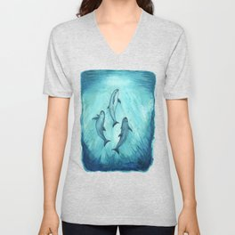 """Song of the Vaquita"" by Amber Marine ~ Watercolor Painting, (Copyright 2015) Unisex V-Neck"